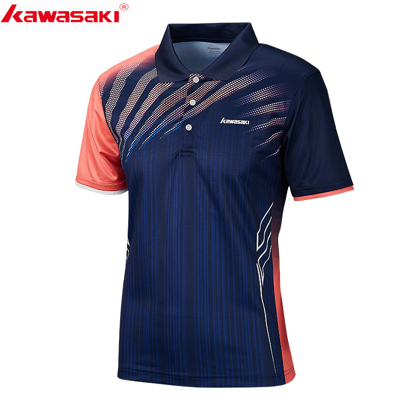 2019 Original Kawasaki Men Polo Shirts Short Sleeve Quick Dry Polyester Men Tennis Badminton T-Shirt Sports Clothing ST-S1101