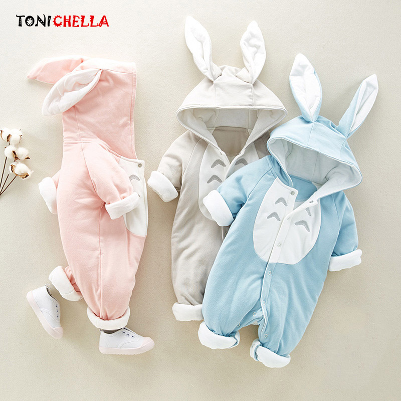 Baby Rompers Climbing Clothes Cartoon Rabbit Totoro Pattern Jumpsuit Infant Soft Hooded Long Sleeve Warm Thick Clothing CL5032