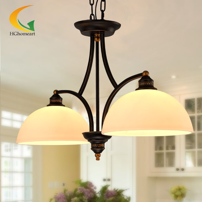 Simple Mediterranean American country ceiling lights European retro restaurant lights wrought iron chandelier ceiling