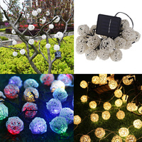 DIU 20 LED Warm Light RGB 9M Solar LED Rattan Ball String Fairy Lights For Christmas