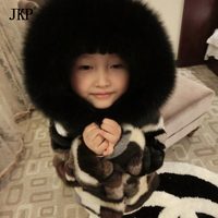 kids Mink Fur Jacket Girls Long Jackets Children natural Mink Fur Coat Outerwear Fox fur collar Hooded coat Boy Girls Jacket