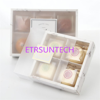 50pcs/lot Marble Design Transparent frosted cake Box dessert macarons boxes pastry packaging boxes