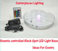 10 pieces/lot 8inch round led table light, led vase light, wedding centerpieces with remote control Rechargeable