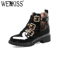 WETKISS Winter Belt Buckle Women Ankle Boots Round Toe Thick Heel Bootie Metal Decor Solid Shoes Simple Fashion Female Boots(China)
