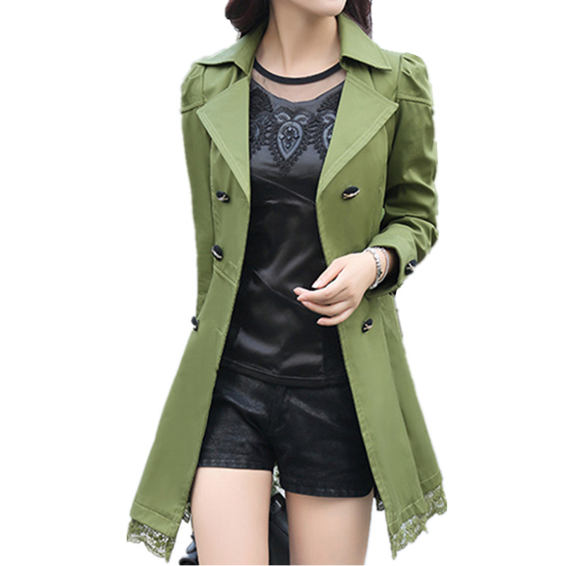 2018 fashion female spring slim trench coat / women's lace lap style solid colour  double breasted long coat / size M-XXXL