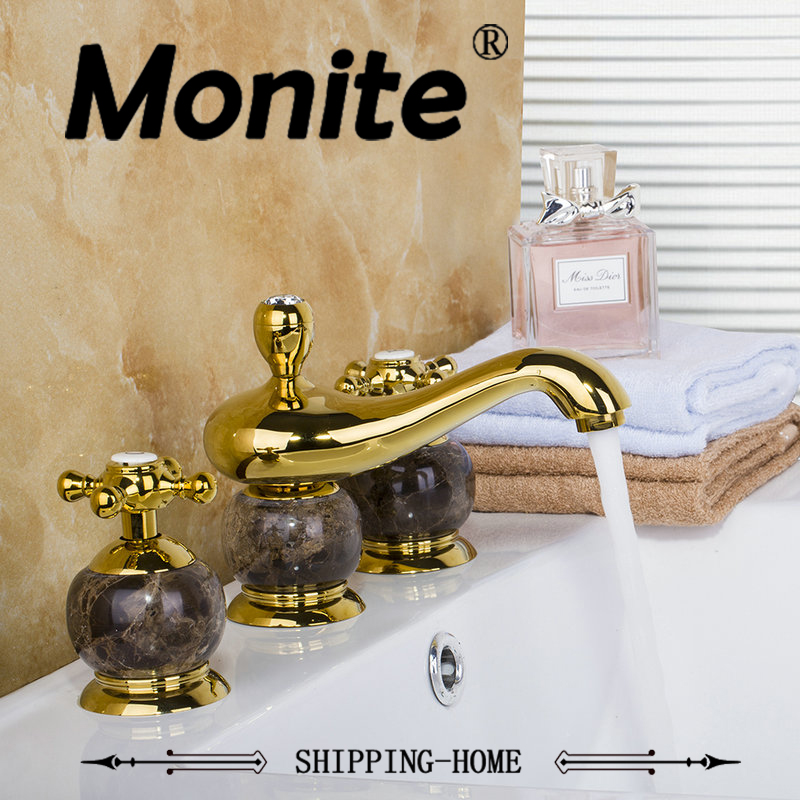 Polished Golden 3PCS Set Bathtub Faucet European Deck Mounted Shower Basin Mixer Tap diamond & Jade Bathroom Faucet new us free shipping simple style golden finish bathtub faucet mixer tap shower faucet w ceramics handheld shower wall mounted