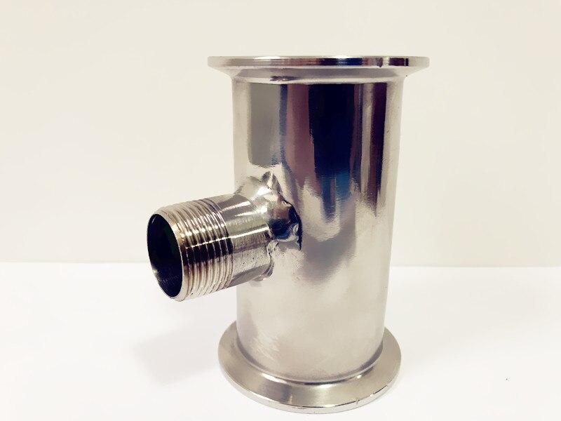 """Livraison gratuite 2 """"(51mm) OD64 sanitaire Tri trèfle bobine Tube/tuyau avec filetage externe moyen 3/4"""", longueur 4 """"(100mm), SS304"""