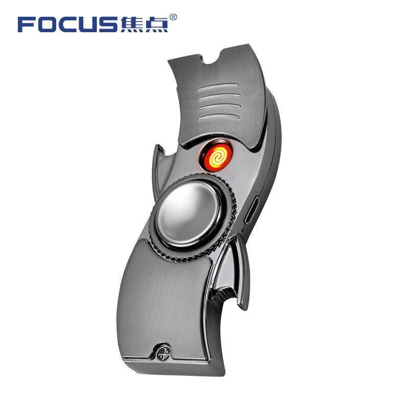 2019 Hand Spinner Fidget Tri USB Electronic Cigarette Lighter Toy Finger Gyro Focus