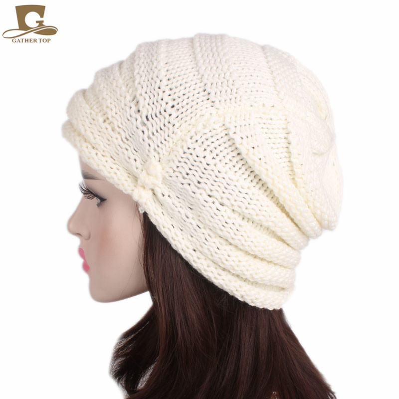 NEW Winter Warm Women Peaded Baggy Hat Knit Slouchy Beanie Cap Knitted Turban Cap Lady Knitting Hats hot winter beanie knit crochet ski hat plicate baggy oversized slouch unisex cap