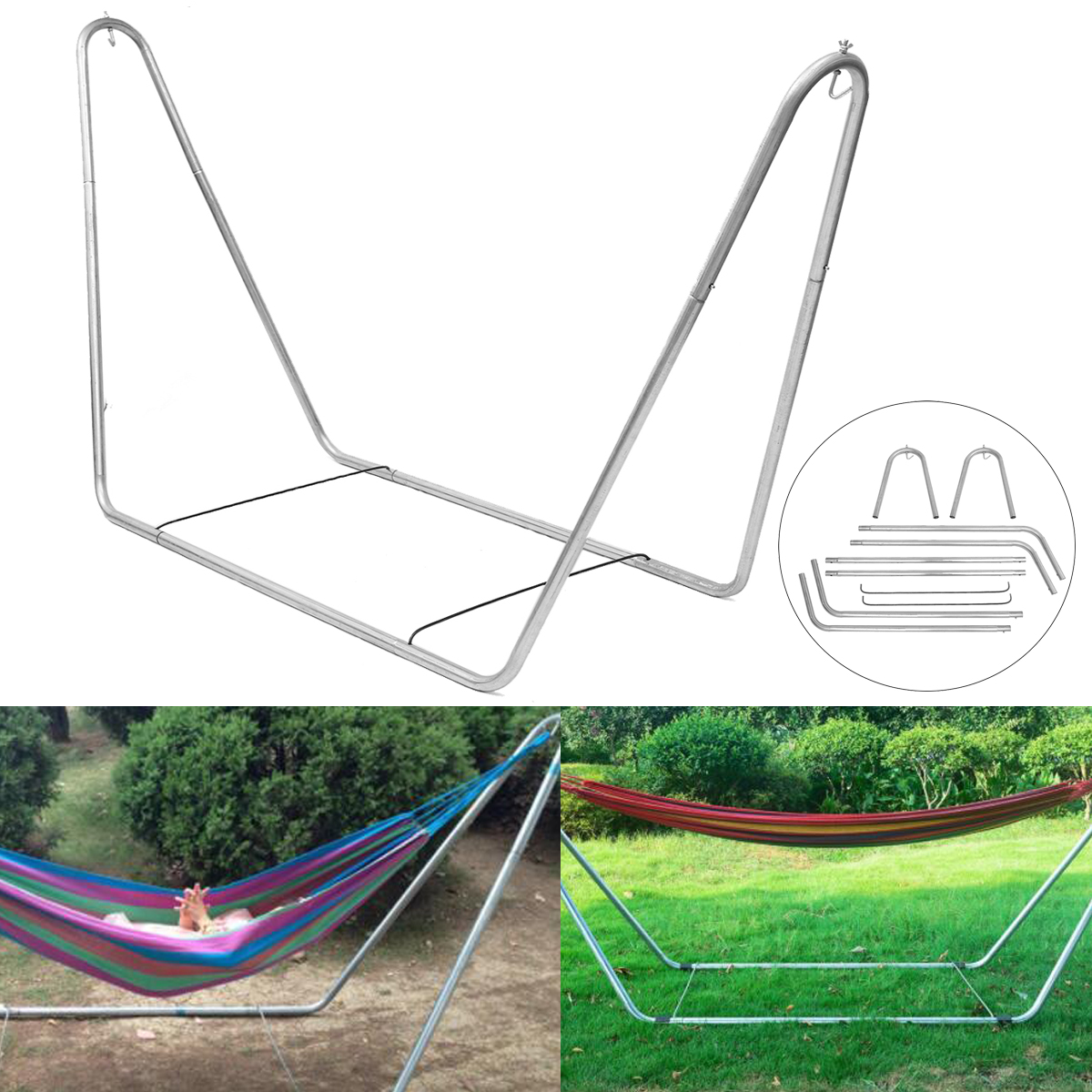 Us 145 04 51 Off Portable Hammock Steel Stand Camping Outdoor Travel Swing Chair Bed Hammock Frame Stand Stand Only In Hammocks From Furniture On