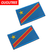 GUGUTREE embroidery HOOK&LOOP Congo flag patch national patches badges applique for clothing AD-333
