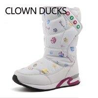 CLOWN DUCKS Girls Snow Boots Waterproof Winter Children Boots Plush Lining Warm Shoes For Girl Skidproof