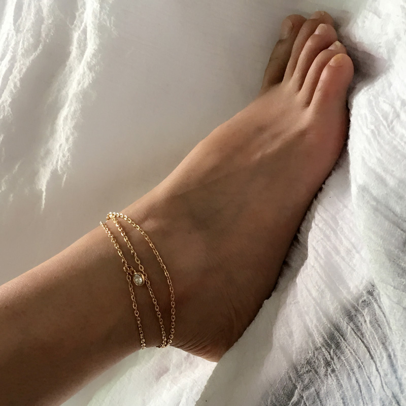 Women Boho Indian Gold Silver Crystal Charm Multilayer Foot Chain Girl Summer Jewelry Beach Sandal Feet Anklet Bracelet Ak066 In Anklets From Jewelry