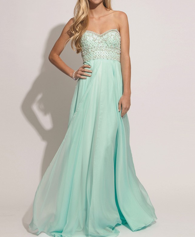 Buy New Fashion Charming Mint Green Prom Dresses With Beautiful Beaded Sweetheart Neck Backless Graduation Gown Party Evening for only 120 USD
