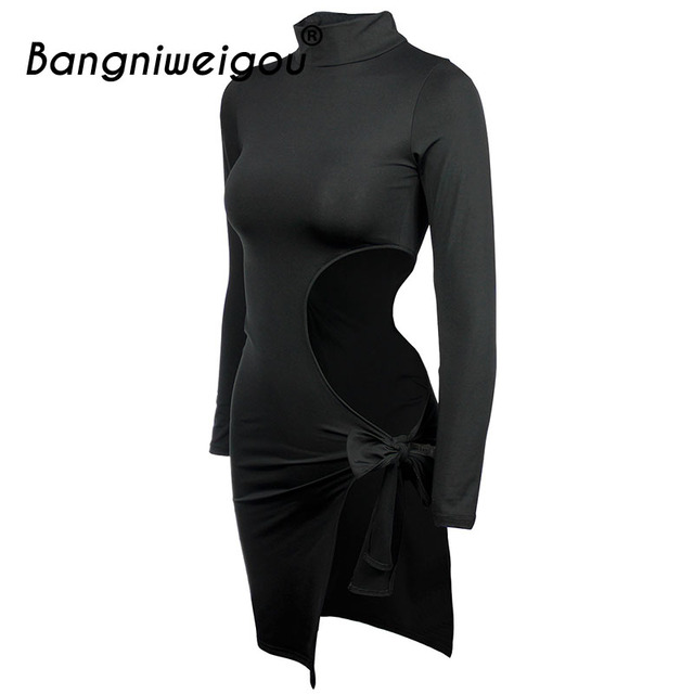 Bangniweigou Side Cutout Bow Tie Up Black Dress Women Nightclub Sexy Side Split Autumn Long Sleeve Bodycon Party Dress 5