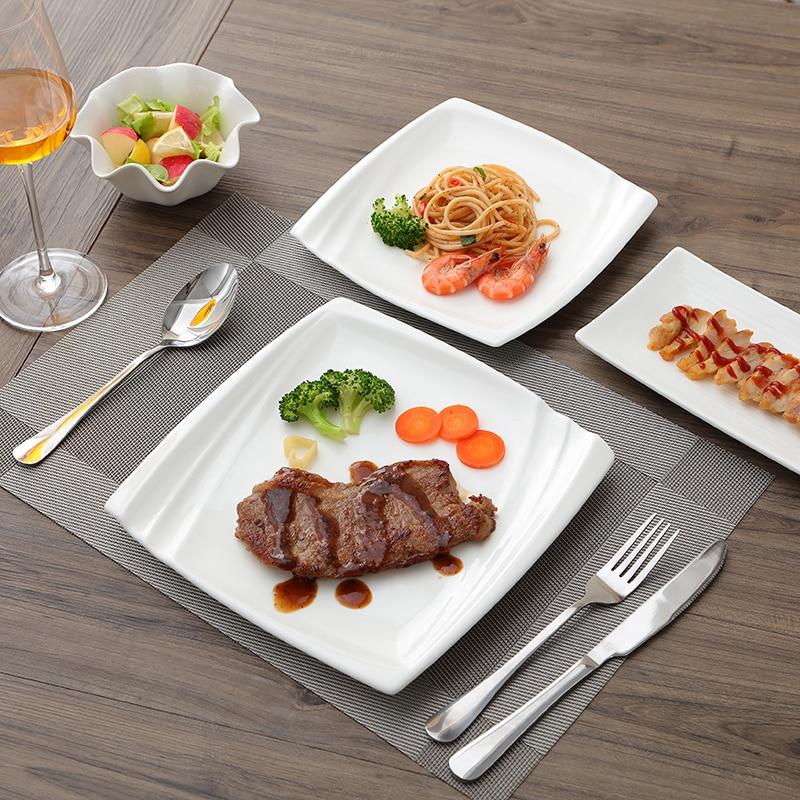 Fashion Western Dinner Steak Plate Ceramic Tableware Mat Creative White Tableware Dish Fish Square Plate Tableware Dinner Plates