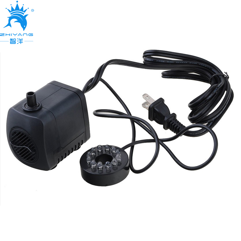 15W 800L/H Water Pump Fish Tank High Temperature Mini Submersible Water Pump 110V US Plug Aquarium Pump with 12 LED lights
