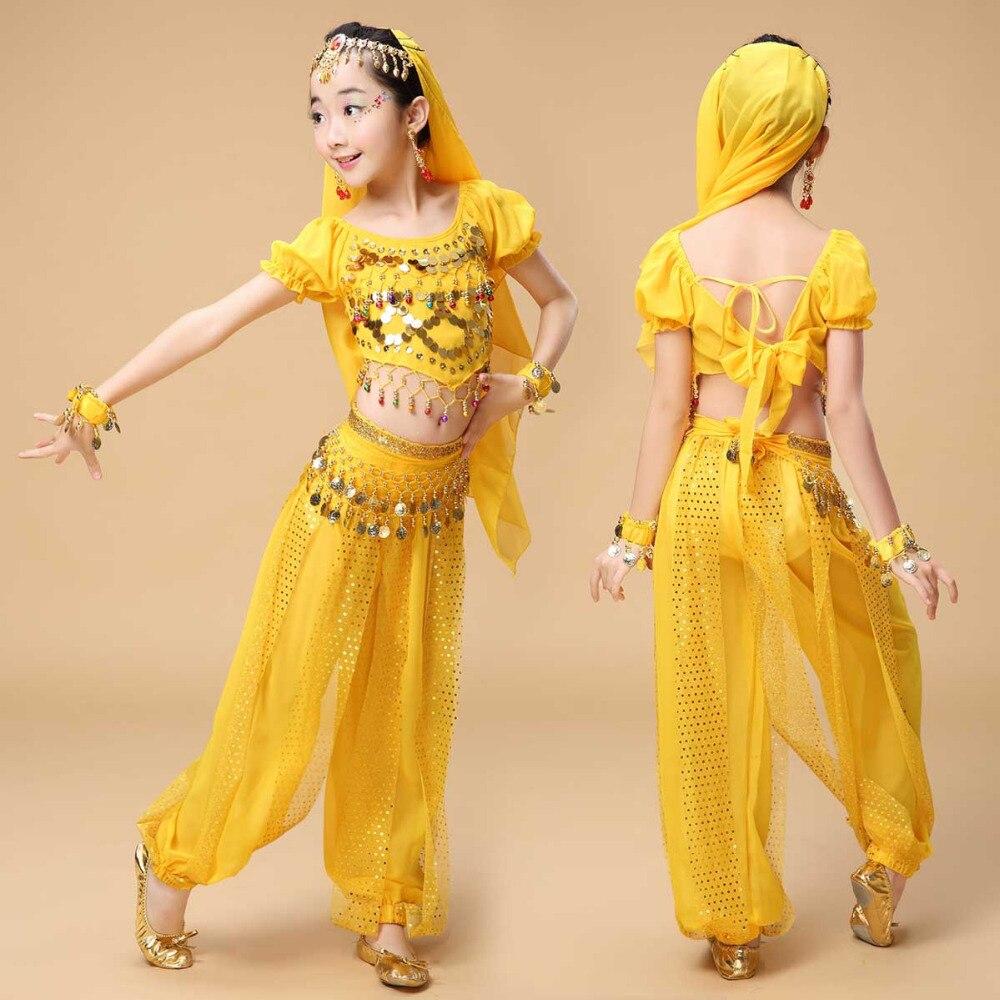 Karsti nopērkami seksīgi bērnu vēderdeju kostīmi meitenēm - tērpi Sequin Design Ballroom Dancewear Vairumtirdzniecība Bērnu Dejotāji Bikses