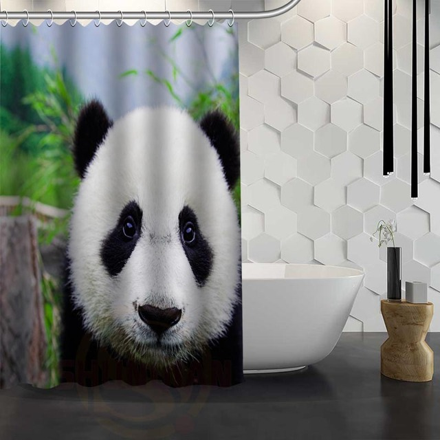 Custom Panda Shower Curtain Waterproof Fabric For Bathroom WJY117