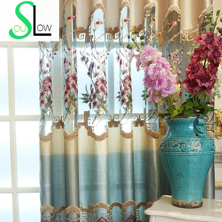 Slow Soul New Elegant Chinese Style Living Room Study Embroidery Curtain Tulle Curtains Floral