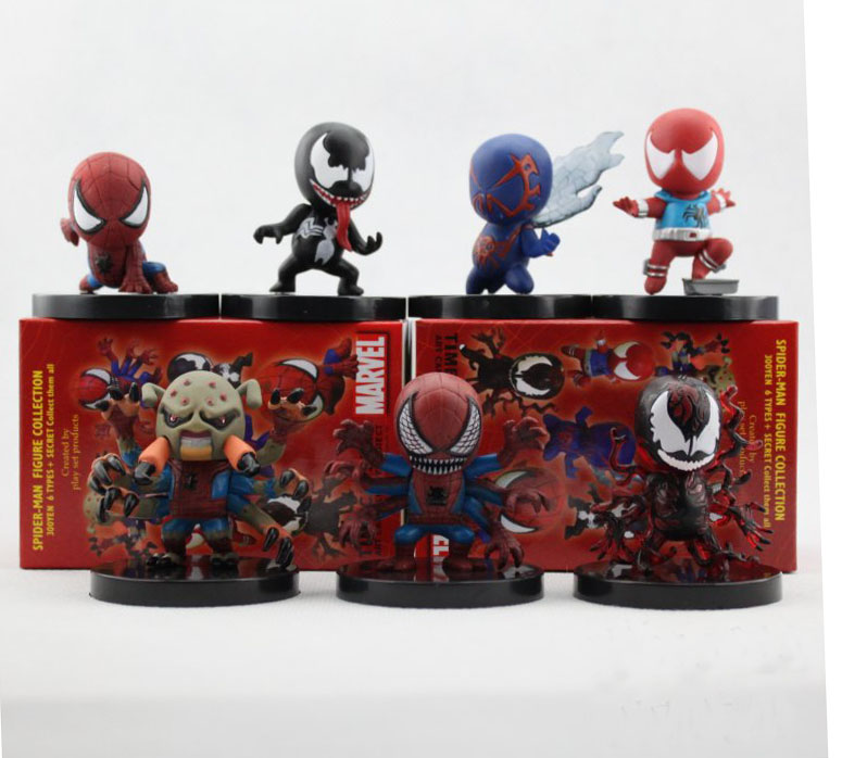 Free Shipping 7pcs Cute The Amazing Spider-Man Spider Man Spiderman Venom Movie Boxed 6cm PVC Action Figure Collection Model Toy free shipping cool big 12 justice league of america jla super man superman movie man of steel pvc action figure collection toy