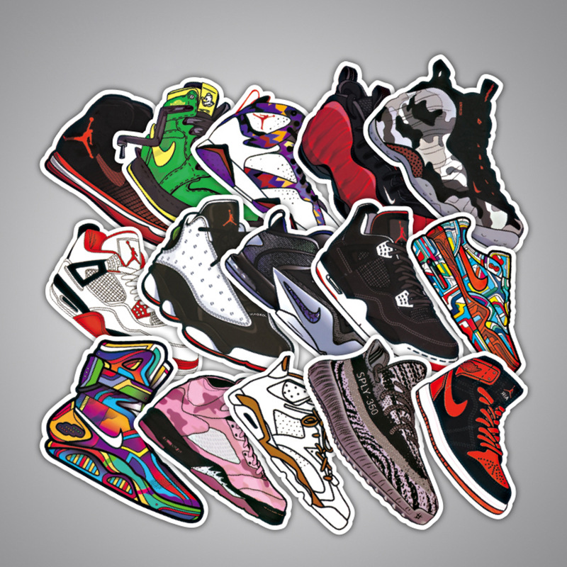 100 шт. фигурку для Jordan тапки наклейки для Тетрадь велосипед Чемодан коробка Aj обувь прилив бренд граффити Водонепроницаемый наклейки