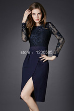 Free Shipping Black/Wine Red/Navy Blue Sheer Lace Long Sleeves Women Dress Sexy Front Slit Office Lady Dresses Bodycon Vestidos