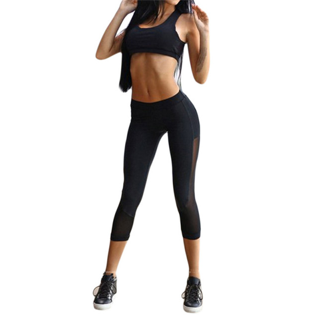 Quick Dry Thin Mesh Black Summer leggins See Through Plus Size leggings Sets Slim Stretch Exercise Workout Clothes For Women
