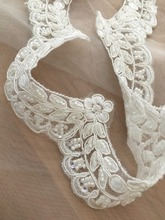 Thin Pearl Beaded Lace Trim in Ivory  , Bridal Wedding Veil for Sash, Headbands, Jewelry or Costume design