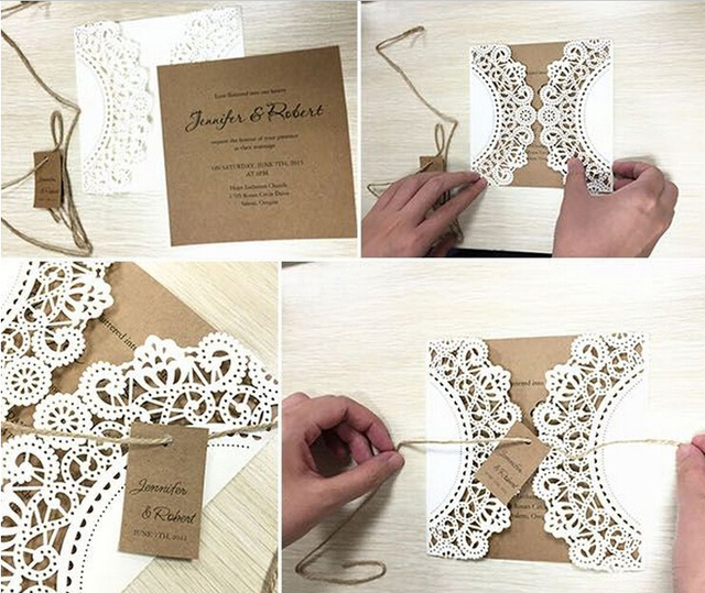 Handmade Wedding Invitation Laser Cut Cards Lace