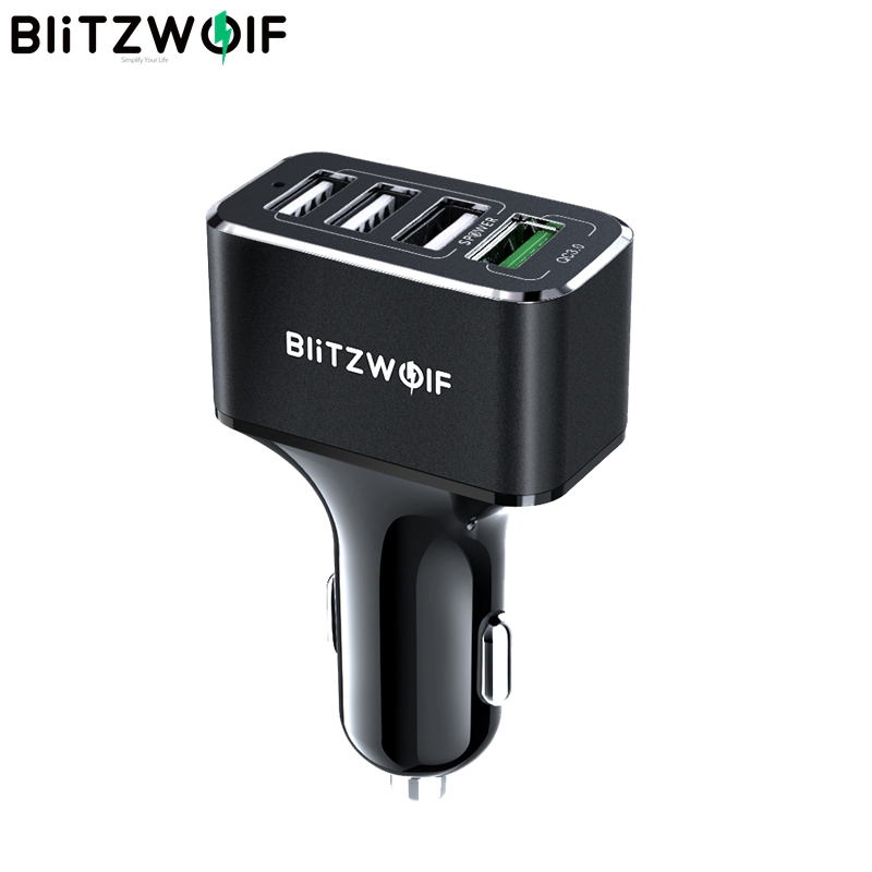 BlitzWolf USB Car Charger 4 USB Ports 50W QC3.0 Fast Charging For Mobile Phone TDC 12V-24V For iPhone X XR Xs For Xiaomi Mi8BlitzWolf USB Car Charger 4 USB Ports 50W QC3.0 Fast Charging For Mobile Phone TDC 12V-24V For iPhone X XR Xs For Xiaomi Mi8