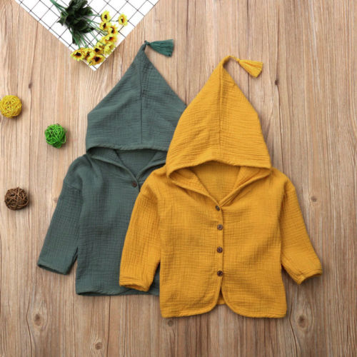 Kids Hooded Button Tops Toddler Kids Baby Boy Girl Cardigan Hoodie Tops Outerwear Coat Clothes 0-6T