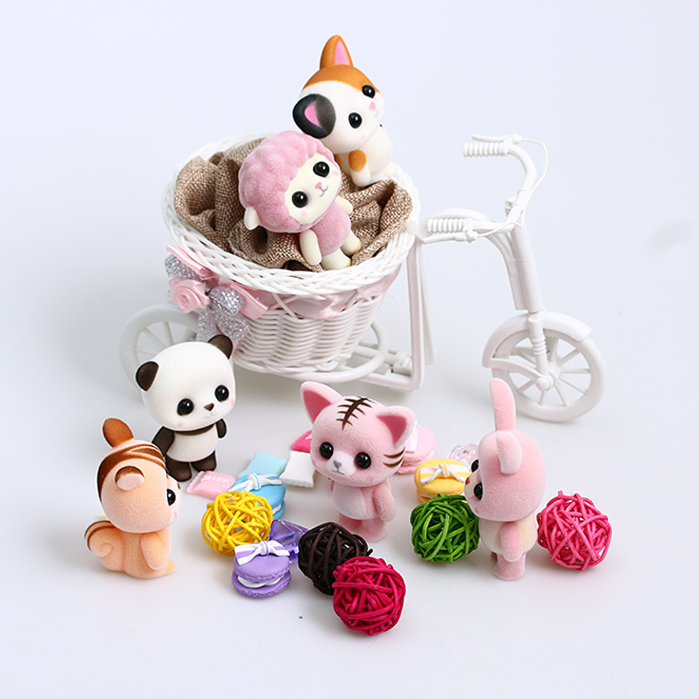 Popular Toys Cute : Little cute flocking doll toys kawaii mini cats decoration