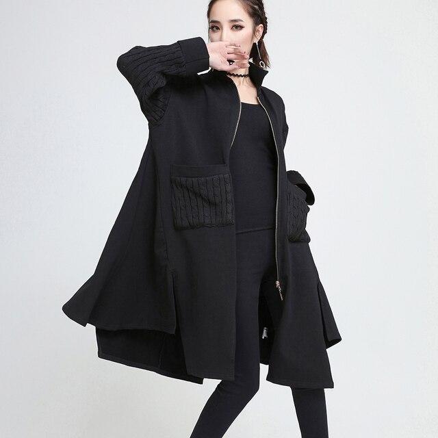 [EAM] 2018 Новый Осень с длинным рукавом черный нерегулярные Вязание лоскутное свободные длинные Тип куртка Для женщин пальто мода JE199