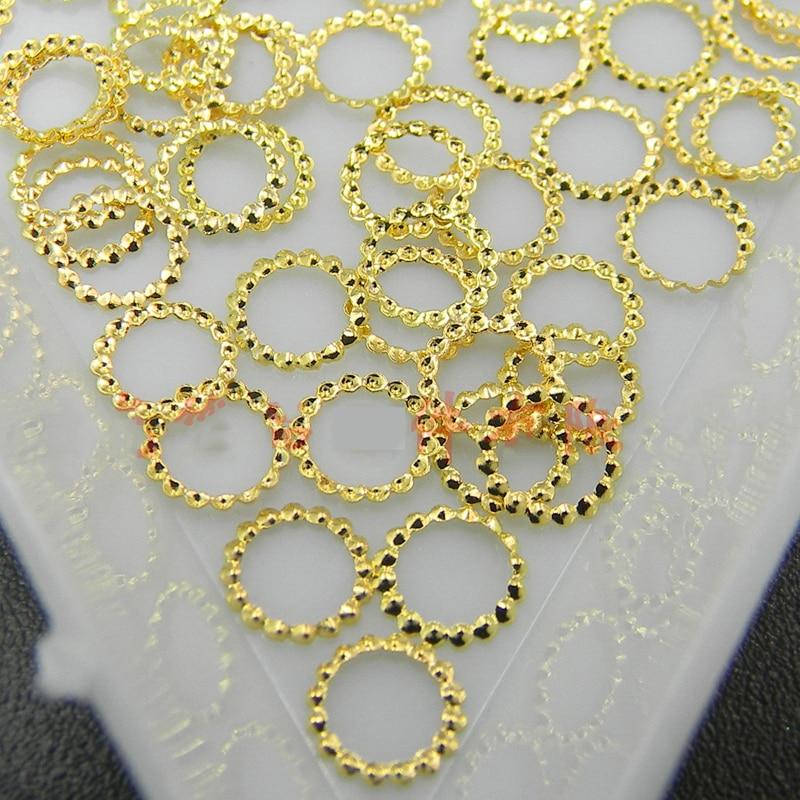 Nail Studs 100PCS/Bag DIY Nail Rivet Metallic Hollow Round Style Gold Plating Studs Rhinestones Fashion 3d Nail Art Decoration,Y