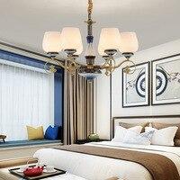 Туда светодиодный Люстра китайская люстра зал гостиная роскошные атмосфера китайский ресторан медная люстра E14 110 V 220 V