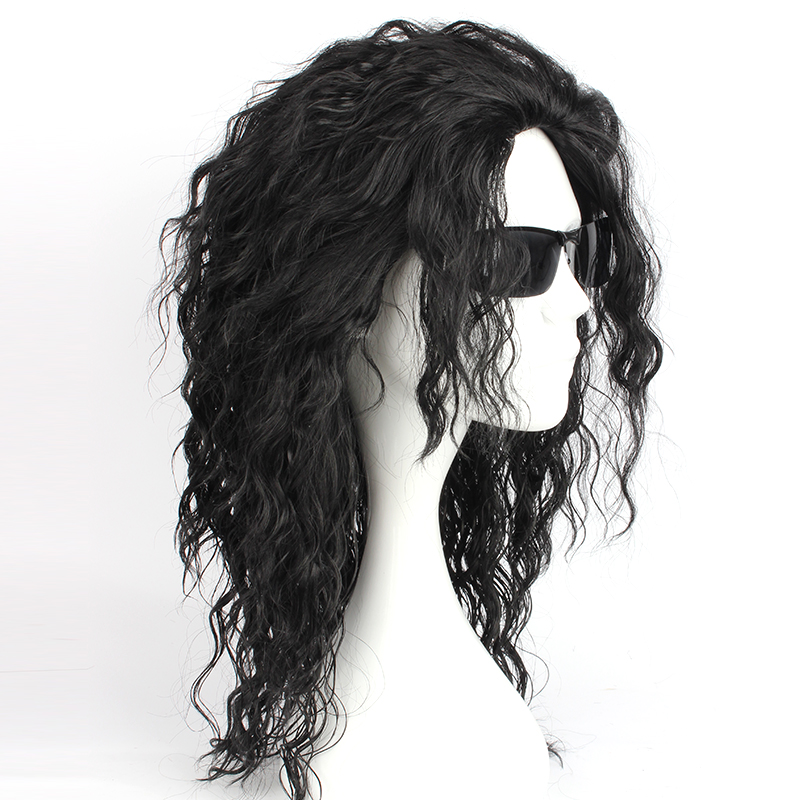 Michael Jackson Cosplay Black Wigs Heat Resistant Synthetic Black Wavy Hair Ponytail Cosplay Wig Halloween Carnival Party Wigs