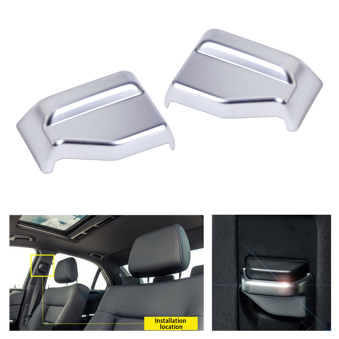 2pcs ABS Chrome Interior B Pillar Seat Safety Belt Frame Cover Trim for Mercedes Benz E Class W212 2010 2011 2012 2013 2014 2015 6x 3d gloss twill carbon fiber b pillar trim for mercedes benz fit e class w212 09 14