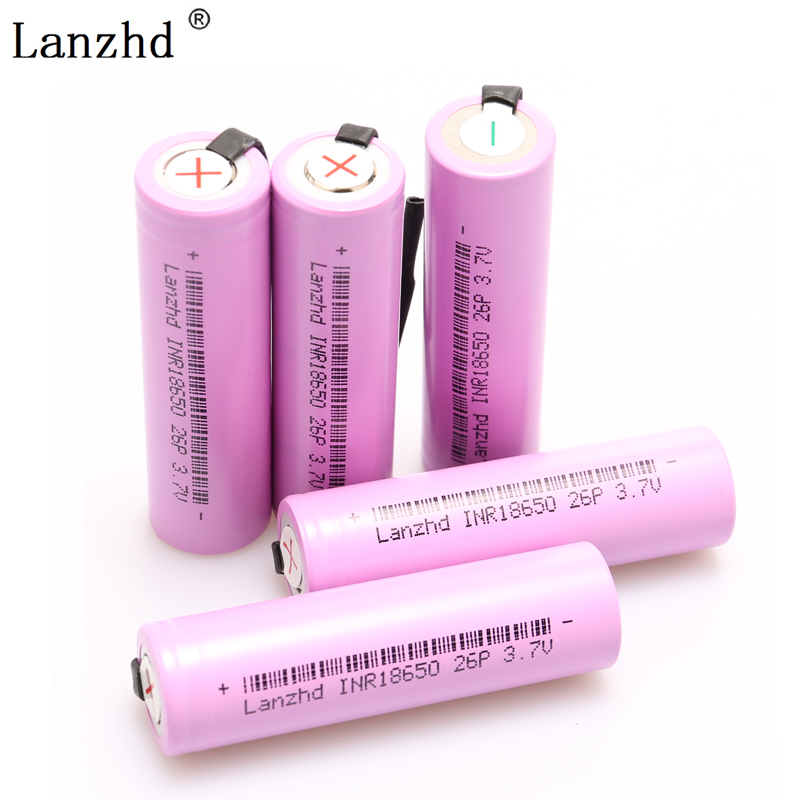 18650 Bettery For Samsung 18650 Batteries INR18650 Rechargeable Battery DIY Nickel Sheets 20A Discharge 2600mAh  Li-ion 3.7V