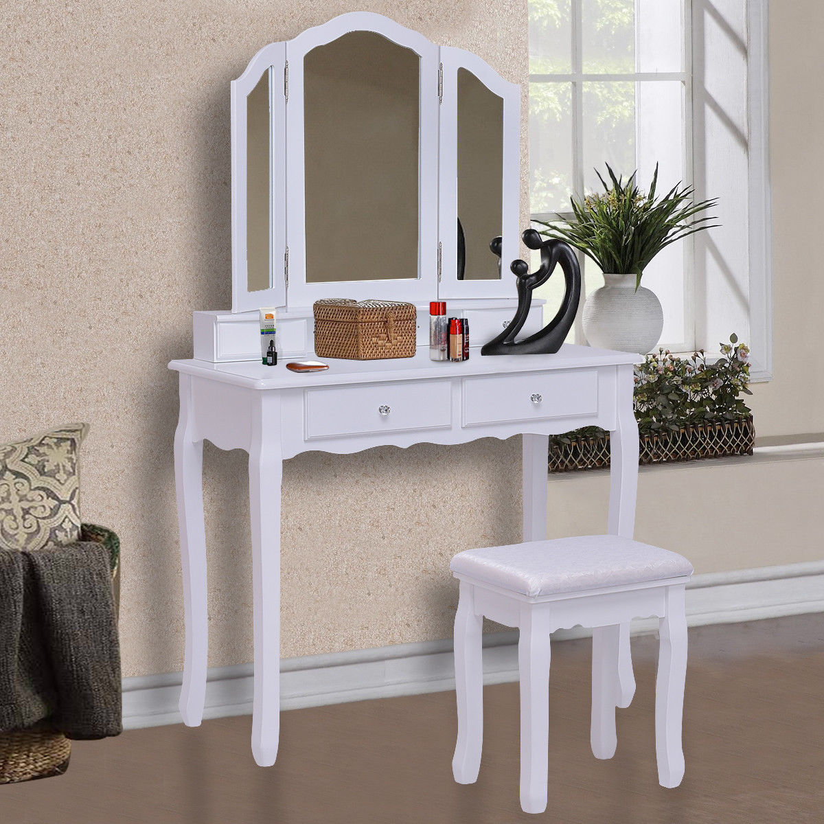 Giantex White Tri Folding Mirror Vanity Makeup Table Stool Set Home Desk With 4 Drawers Bedroom Modern Dresser HW55563WH dressing table makeup desk dresser 1 mirror 4 drawers european bedroom furniture make up mesa bedroom penteadeira with stool