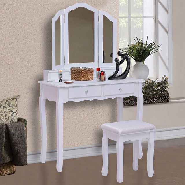 Incroyable Giantex White Tri Folding Mirror Vanity Makeup Table Stool Set Home Desk  With 4 Drawers Bedroom