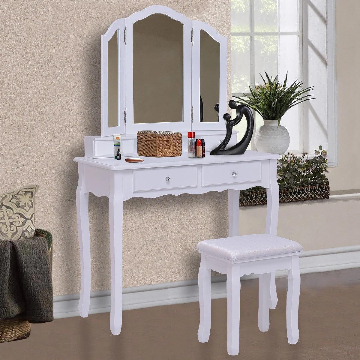 Giantex White Tri Folding Mirror Vanity Makeup Table Stool Set Home Desk With 4 Drawers Bedroom Modern Dresser Hw55563wh Vanity Makeup Tables White Makeup Deskvanity Table Sets Aliexpress
