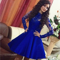 Royal Blue Long Sleeves Lace Sheer Prom Dresses High Neck Satin Ball Gown Short Evening Party