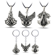 Game Series Assassins Creed Hero logo Necklace Hidden Blade Gear Keychain Keyring Metal Pendant Model Toy For Boys Gift