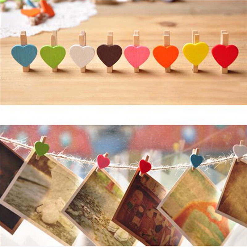100Pcs Mini Hearts Wooden Pegs Clips Photo Craft Wedding Party Decor