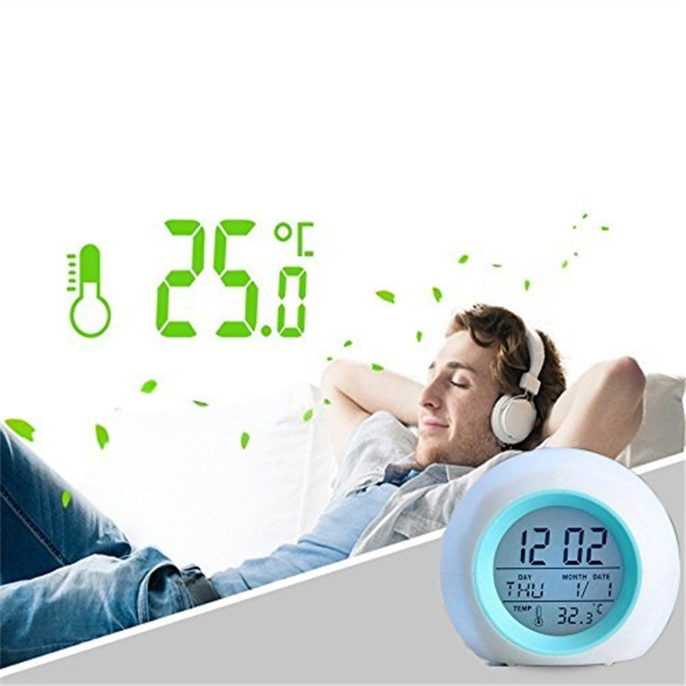 Alarm Clock LED Wake Up Light Digital Clock with Temperature Display & Sound 7 Color Glowing Change Round Alarm Clock 2017