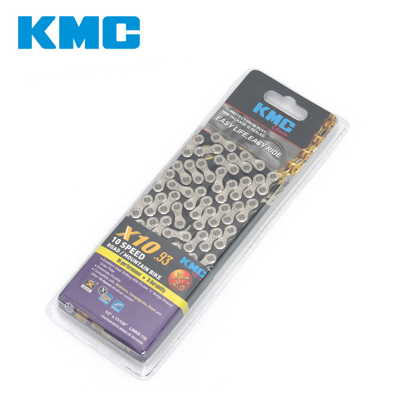 KMC X10 93 116L 10 Speed Silver Bicycle Chain With Original Box MTB Bike Spare Parts