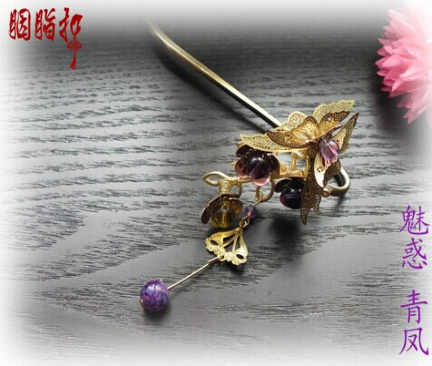 Purple Crystal Antique Bronze Plated Hair Stick with Tassel Qing Feng Fox Fairy Hanfu Costume Hair Accessory Hair Jewelry pink crystal double layer classical hair stick vintage hair accessory hair stick hanfu hair accessory