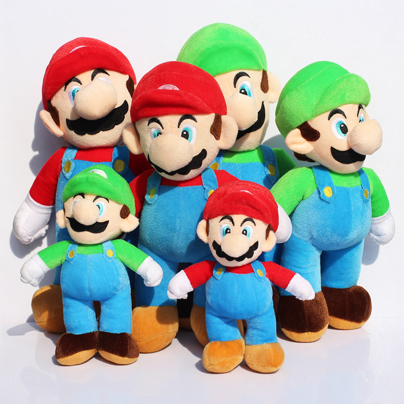 2Pcs/Lot Super Mario Bros Stand MARIO LUIGI Plush Toy Soft Stuffed Dolls Toys 3 Different Size 25cm/35cm/40cm Free Shipping