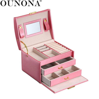 OUNONA Jewelry Packaging Box Lockable Makeup Storage Case Organizer with Lift Up Lid Mirror and Drawers